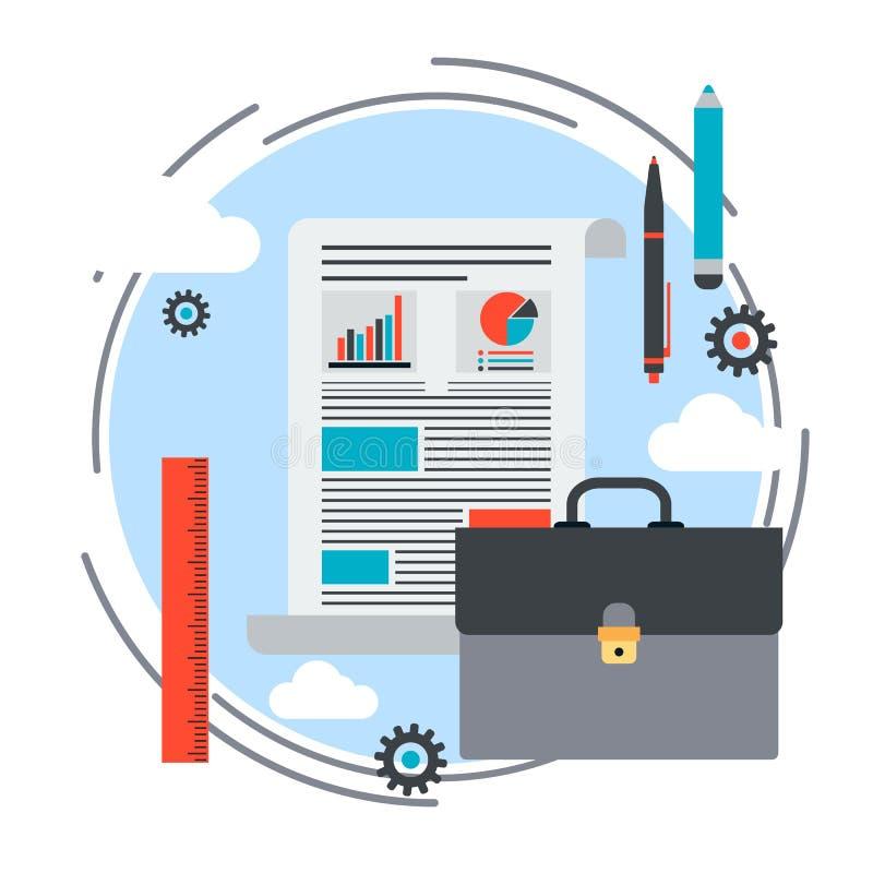 Cartera, plan empresarial, informe, concepto del vector del proyecto del negocio ilustración del vector
