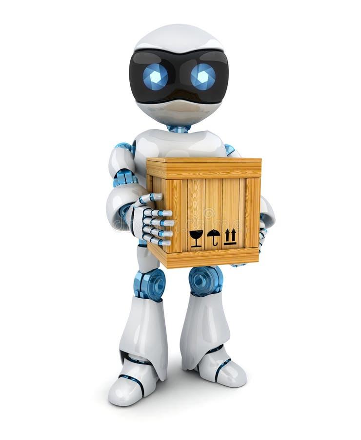 Cartero del robot y caja blancos de los posts stock de ilustración