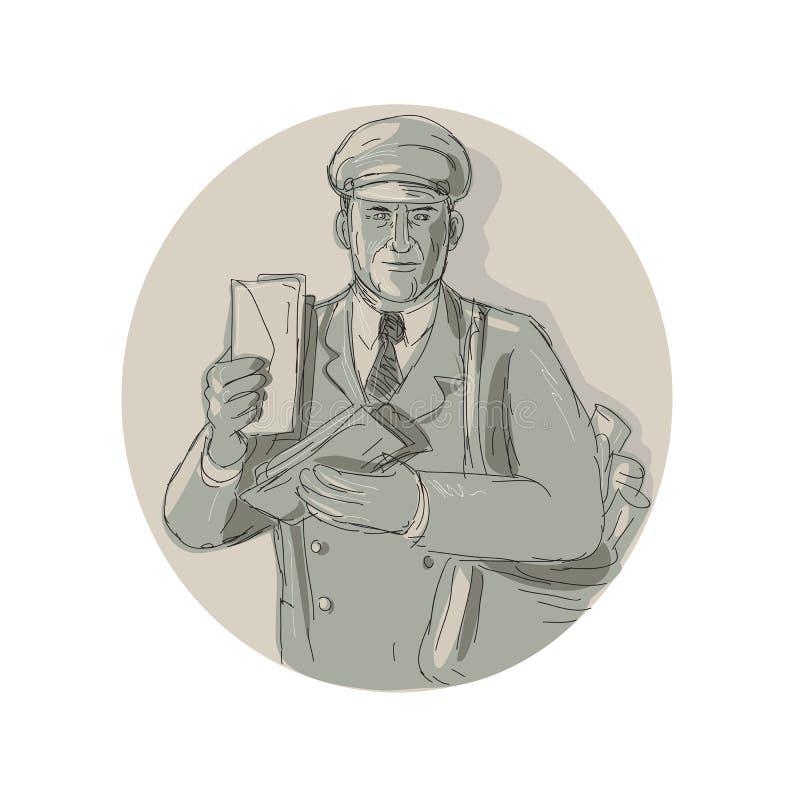 Cartero Delivering Letters Watercolor del vintage stock de ilustración