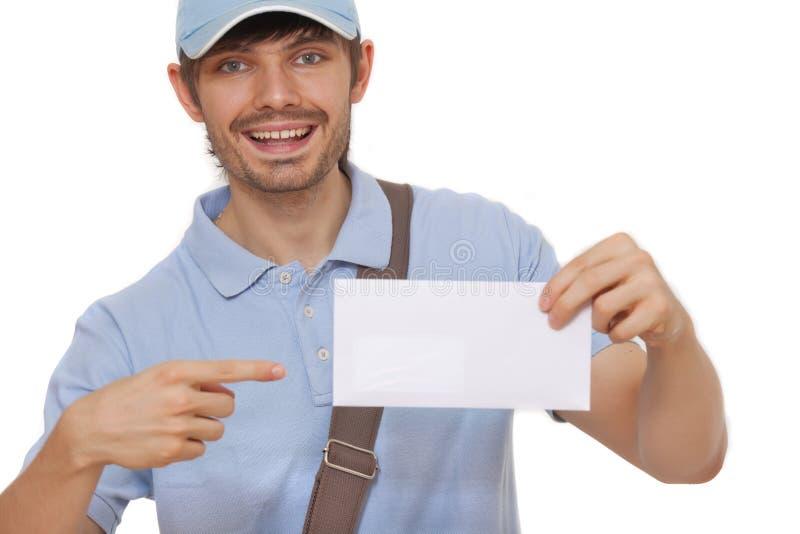Cartero que entrega el correo fotografía de archivo libre de regalías