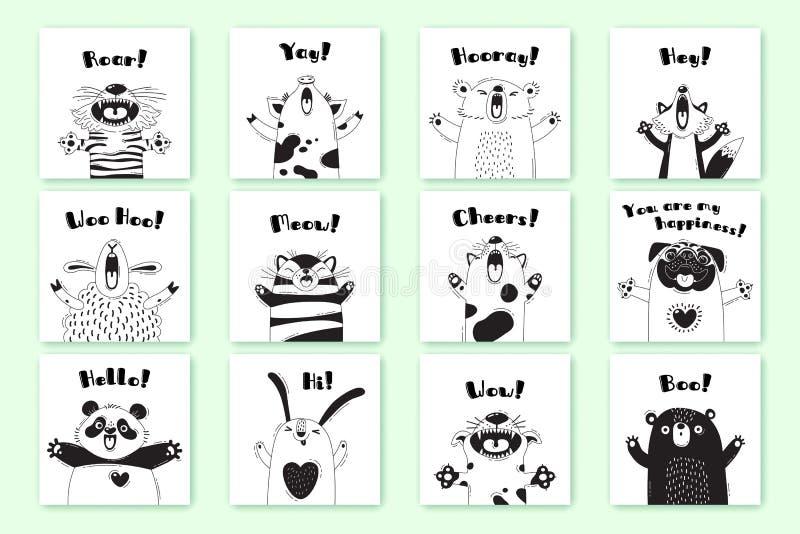 Cartes avec les animaux drôles et les exclamations Tiger Pig Bear Fox Sheep Cat Pug Panda Rabbit pour la conception des enfants illustration libre de droits