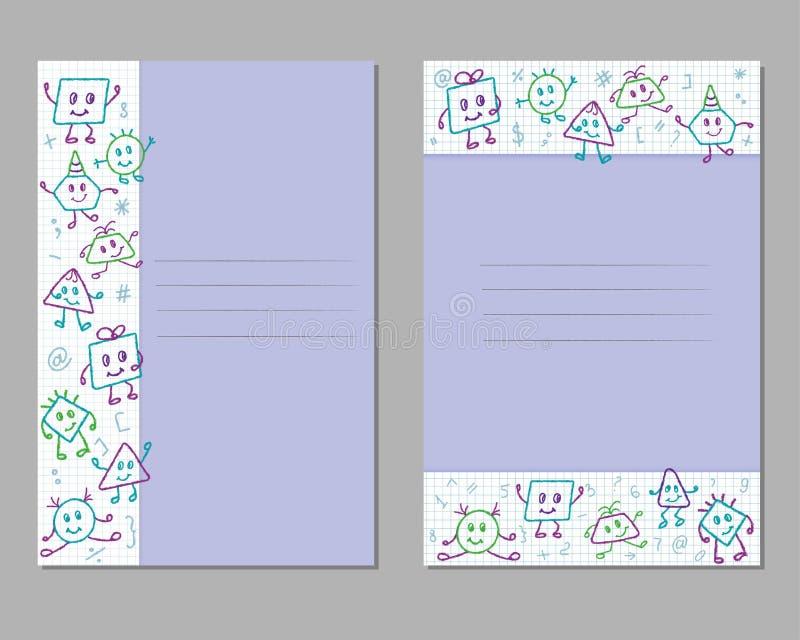 Cartes avec les dessins au crayon des enfants sur une feuille à carreaux, monstres, émotions, poses illustration libre de droits