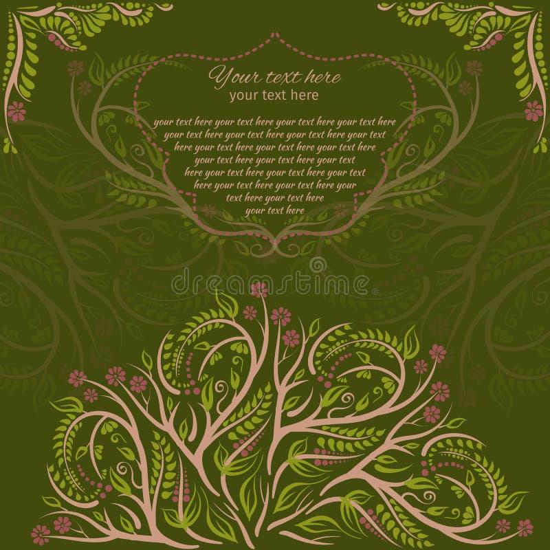 Cartes botaniques de ressort pour la partie ou le jour du mariage avec des branches Illustration de vecteur la forêt elven la car illustration stock
