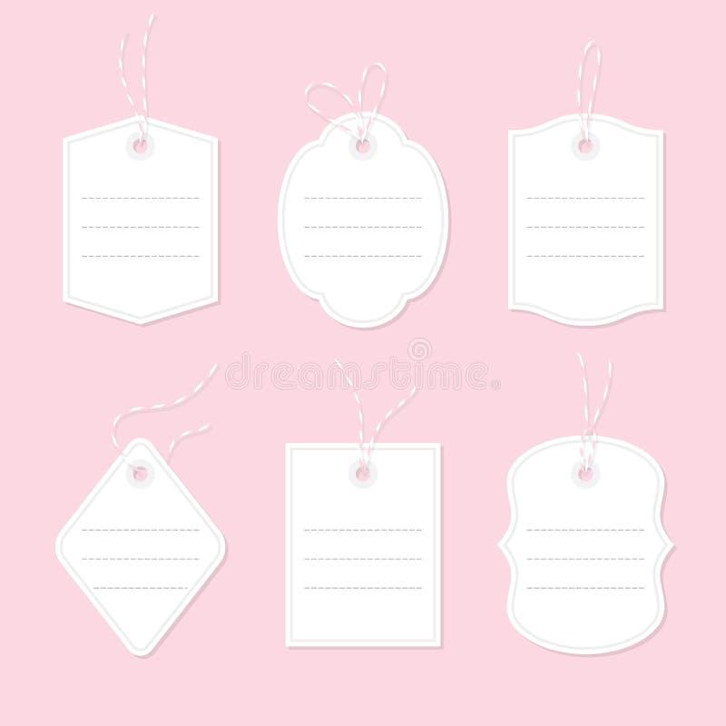 Cartes cadeaux avec des lignes pour le texte attaché avec des arcs et des rubans de ficelle illustration de vecteur