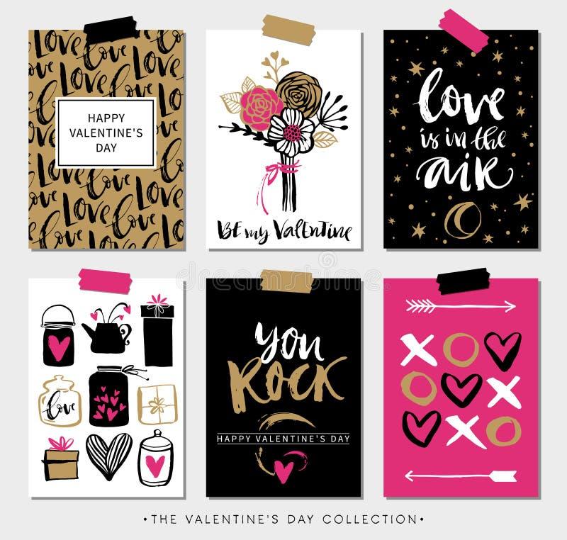 Cartes cadeaux del día de tarjetas del día de San Valentín Caligrafía y diseño dibujado mano stock de ilustración
