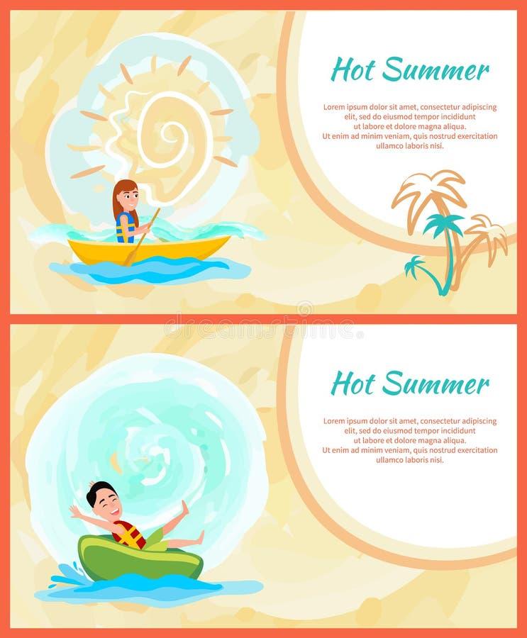 Cartes colorées d'été chaud, repos actif sur la mer illustration libre de droits