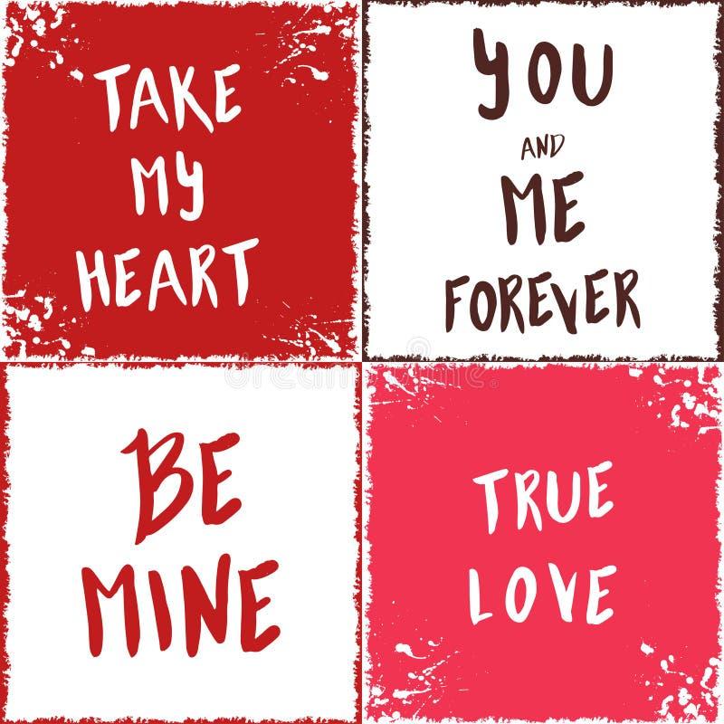 Cartes d'amour Collection de vecteur avec des éléments de lettrage pour l'amour illustration libre de droits