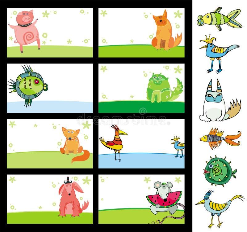 cartes d'animaux illustration de vecteur