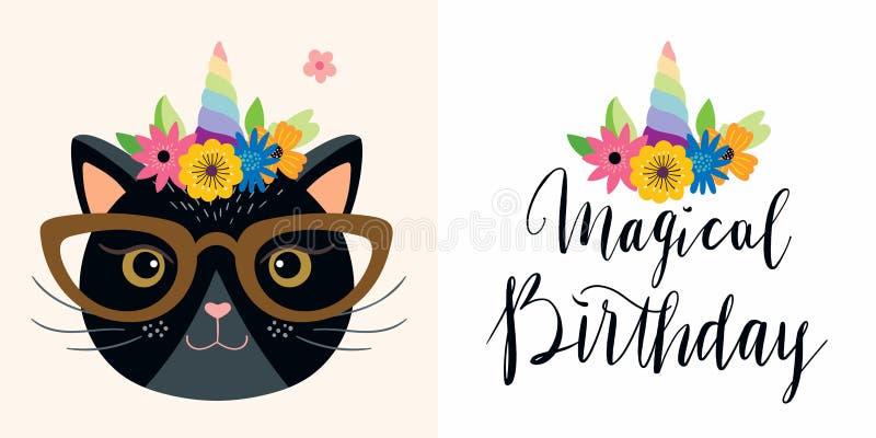Cartes d'anniversaire réglées avec le lettrage drôle de chat et de main de licorne illustration stock