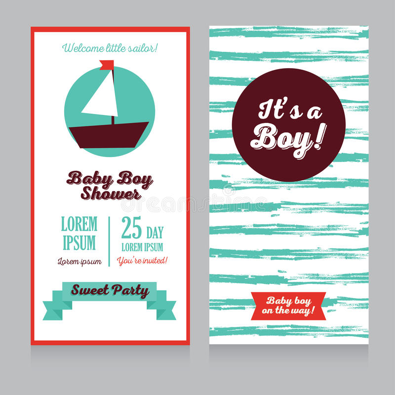 Cartes d'arrivée de bébé garçon dans le style nautique illustration de vecteur