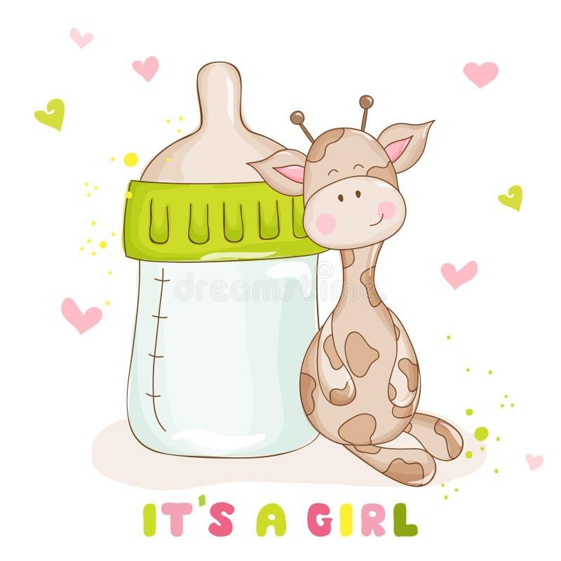Cartes d'arrivée de fête de naissance ou de bébé - girafe mignonne de bébé illustration de vecteur