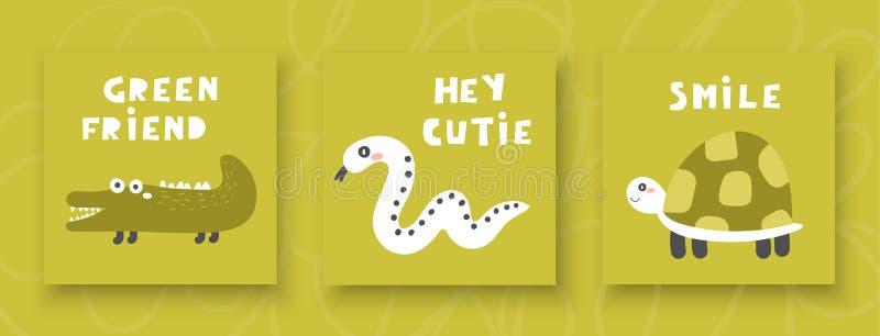 Cartes d'enfants, cartes postales pour le garçon ou fille avec le crocodile, serpent, tortue illustration de vecteur