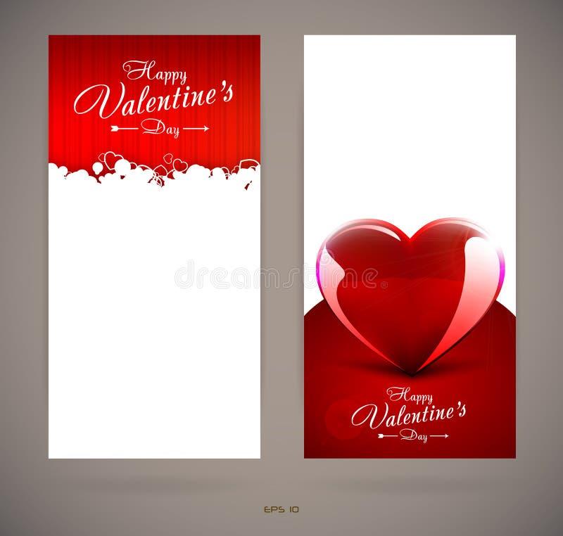 Cartes d'invitation de jour de valentines avec des coeurs illustration stock