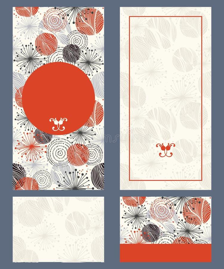 Cartes d'invitation de mariage avec les éléments floraux illustration de vecteur