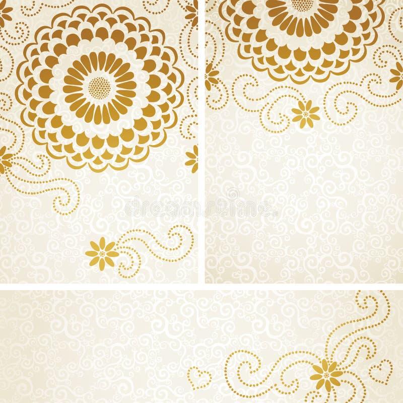 Cartes d'invitation de vintage avec de grandes fleurs et boucles. illustration stock