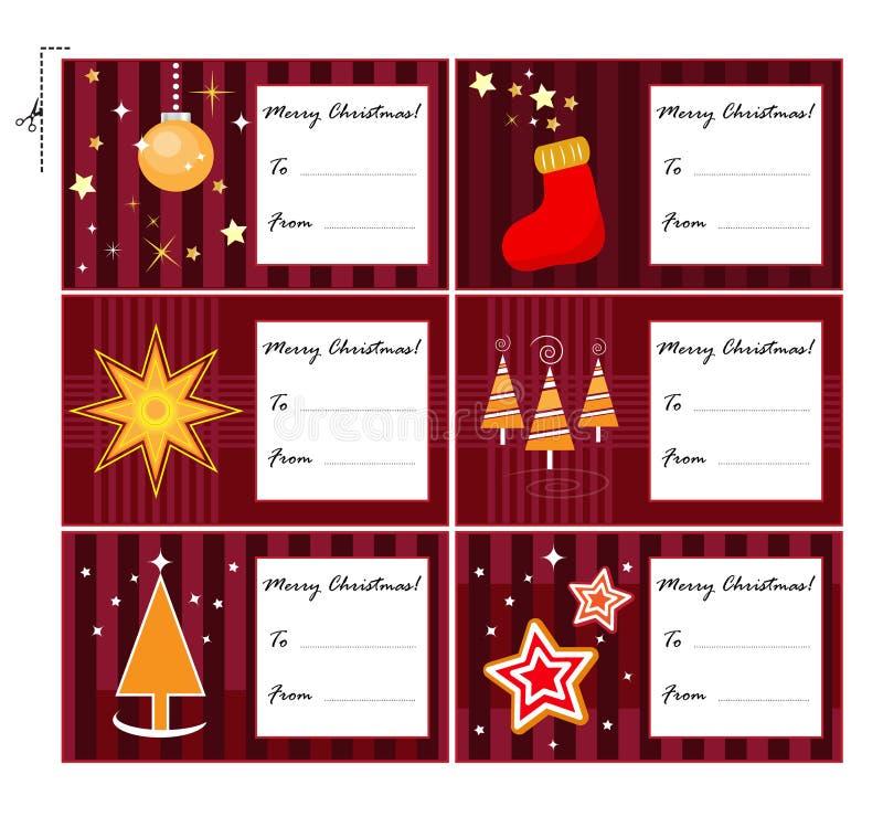 Cartes de cadeau de Noël illustration de vecteur
