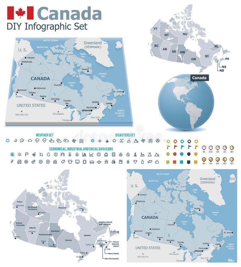 Cartes de Canada avec des marqueurs illustration stock