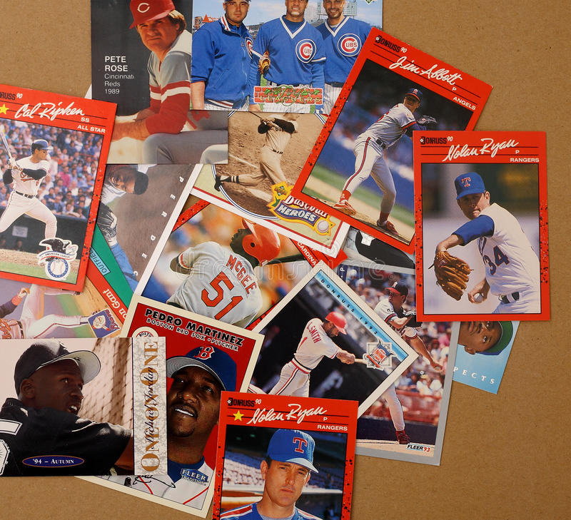 Cartes de collecteur de joueur de baseball photos libres de droits