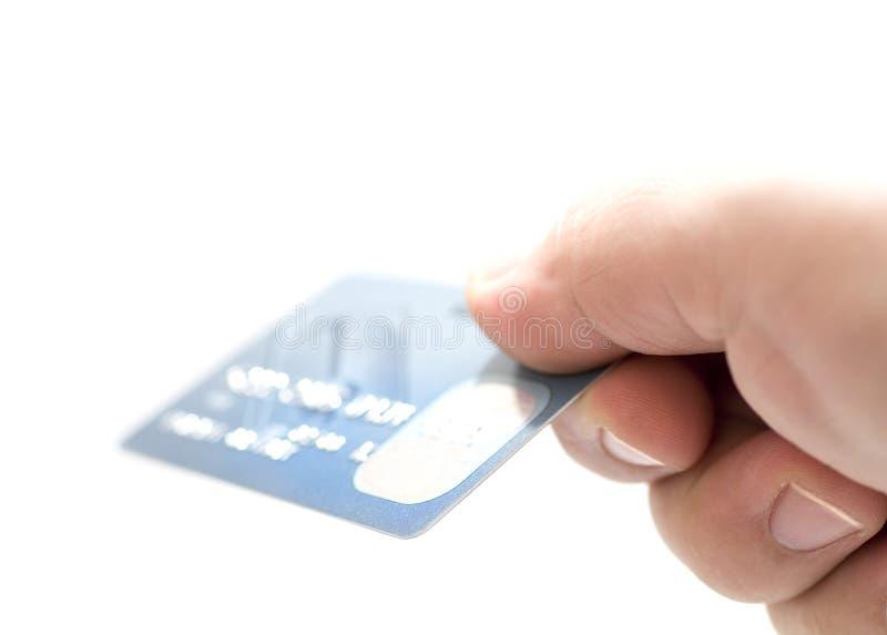 Cartes de crédit de fixation de main. images libres de droits