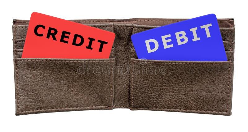 Cartes de crédit et de débit dans un portefeuille en cuir photos libres de droits