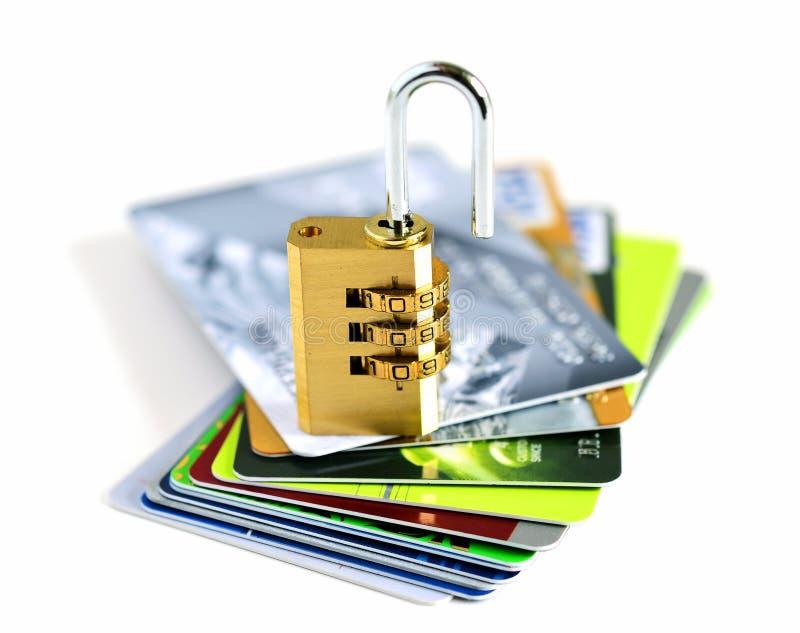 Cartes de crédit et serrure image libre de droits