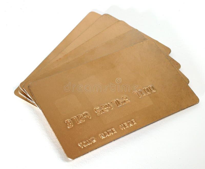 Cartes De Crédit Génériques D Affaires D Or Photographie stock libre de droits