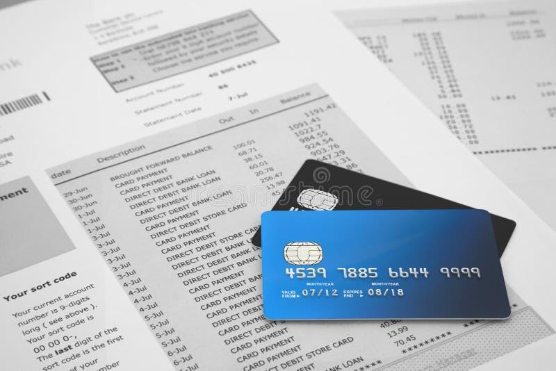 Cartes de crédit sur le relevé bancaire  image libre de droits
