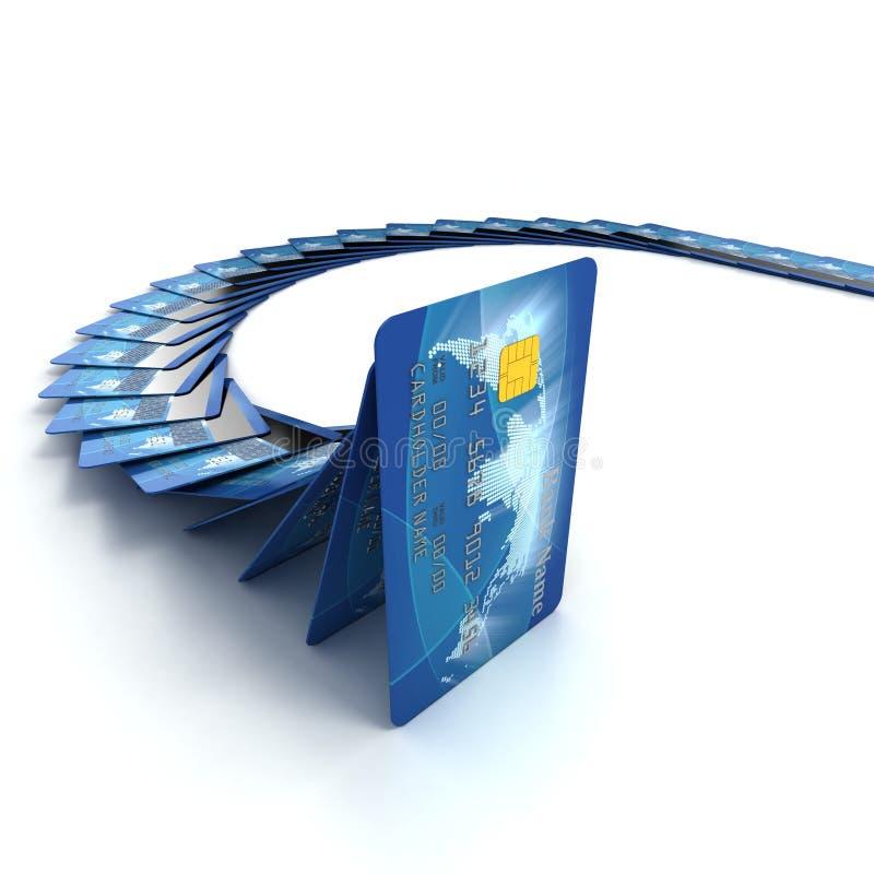 Cartes de crédit tombant comme dominos illustration libre de droits
