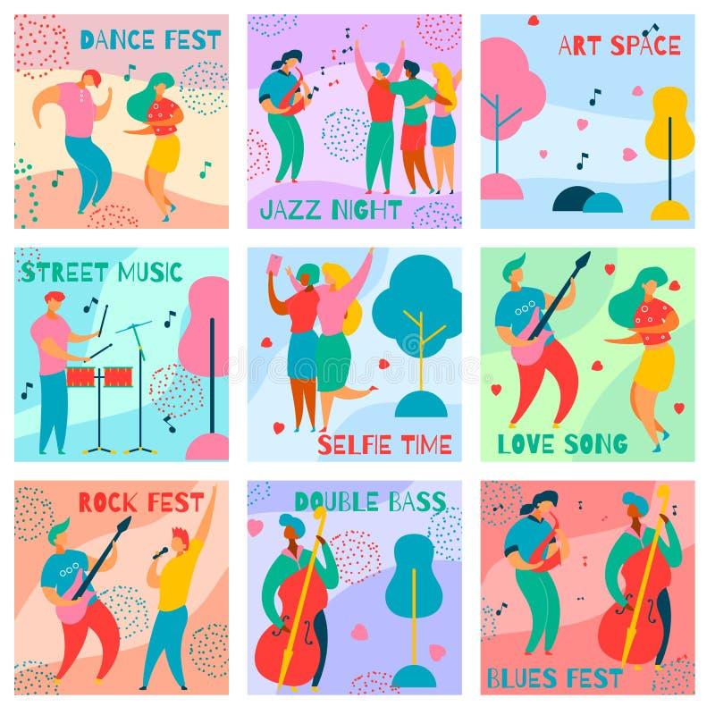 Cartes de fest de musique illustration stock
