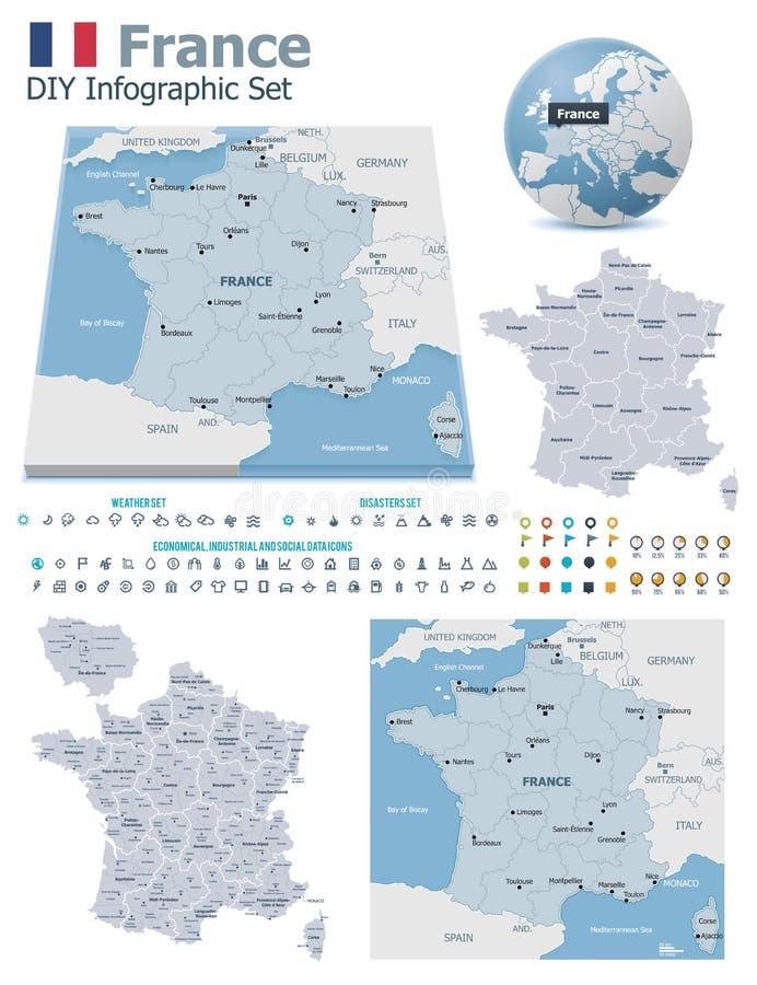 Cartes de Frances avec des marqueurs illustration stock