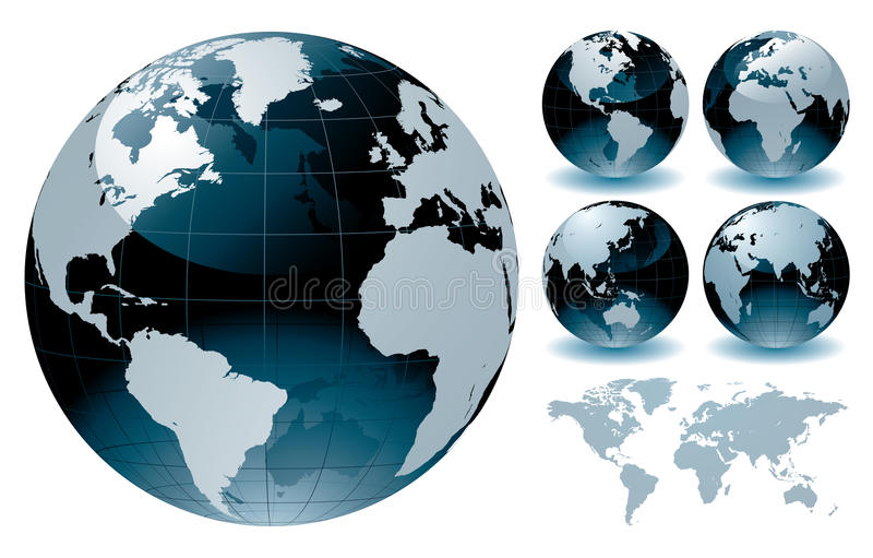 Cartes de globe du monde illustration stock