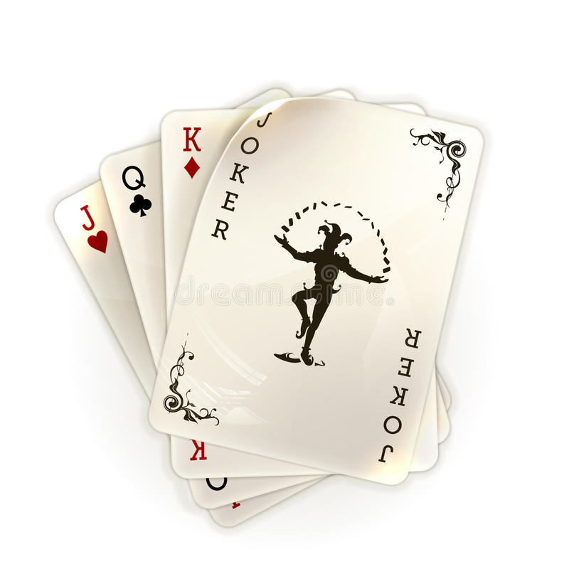Cartes de jeu avec un joker illustration stock