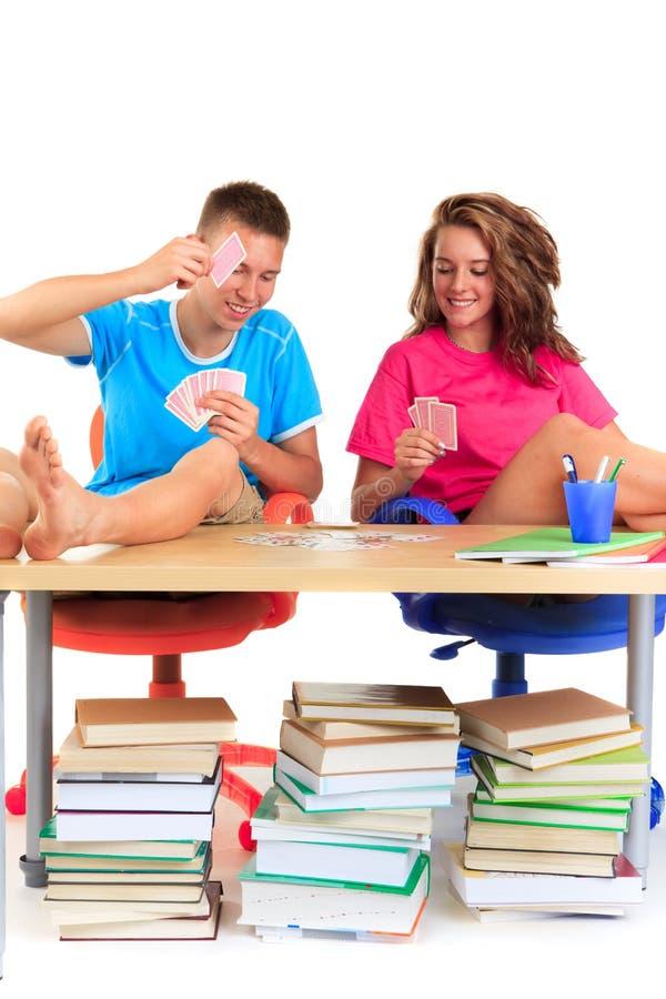 Cartes de jeu d'étudiants photographie stock
