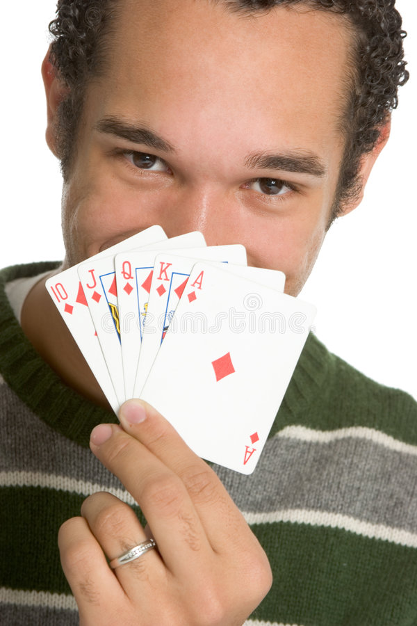 Cartes de jeu d'homme image stock