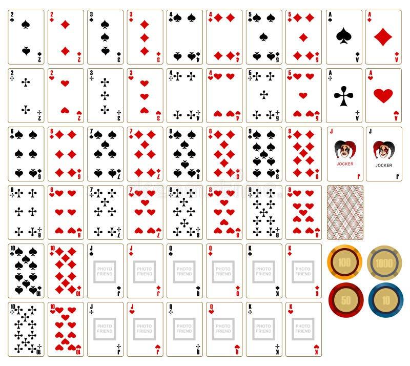 Cartes de jeu et chesspieces photo stock