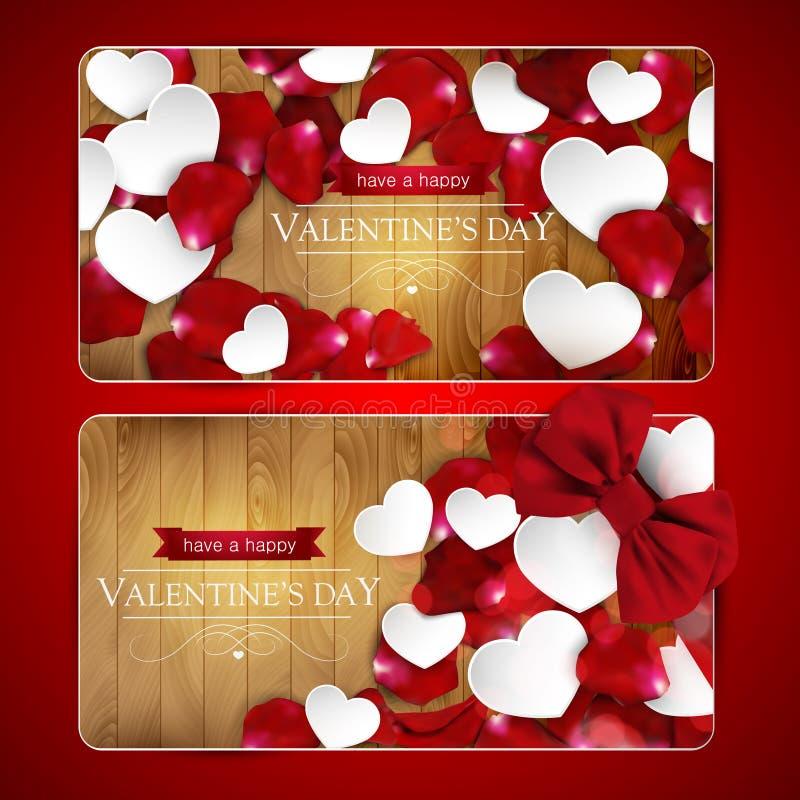 Cartes de jour de valentines avec l'arc illustration stock