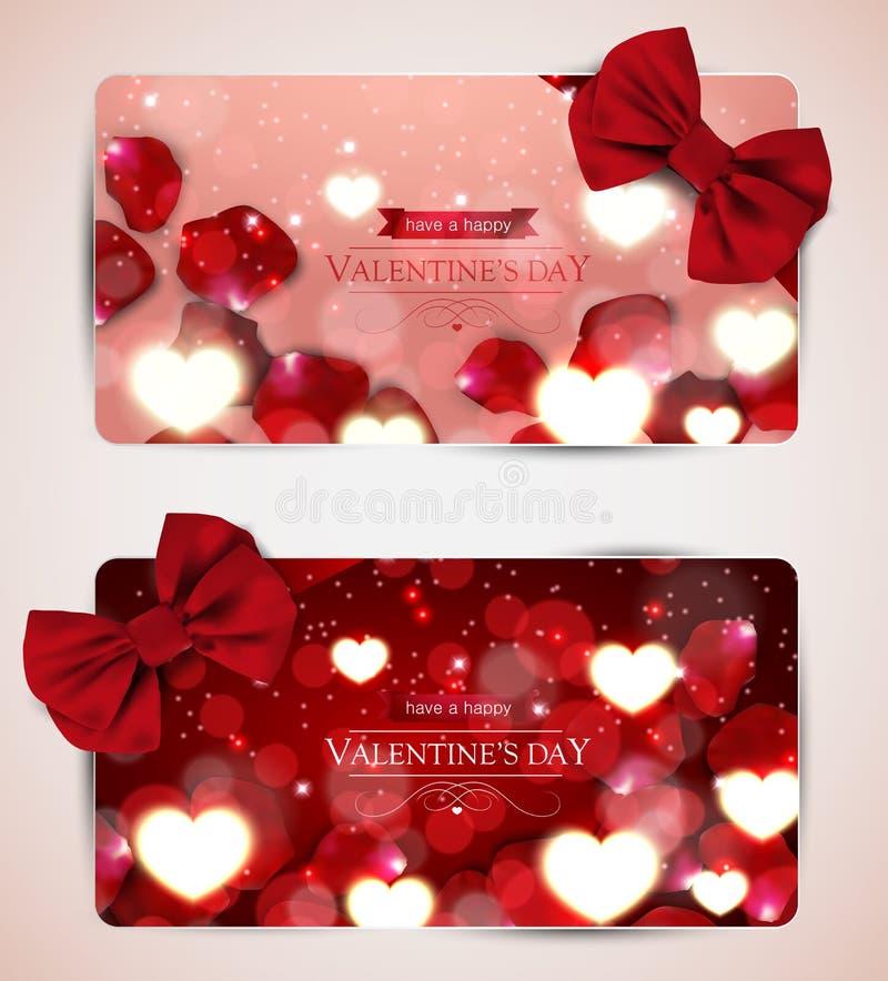 Cartes de jour de valentines avec l'arc illustration de vecteur
