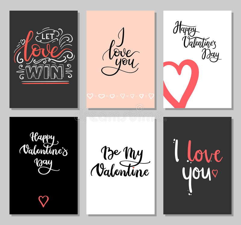 Cartes de jour de valentines avec l'inscription moderne de calligraphie Ensemble de cartes de voeux de lettrage de main Étiquette illustration stock