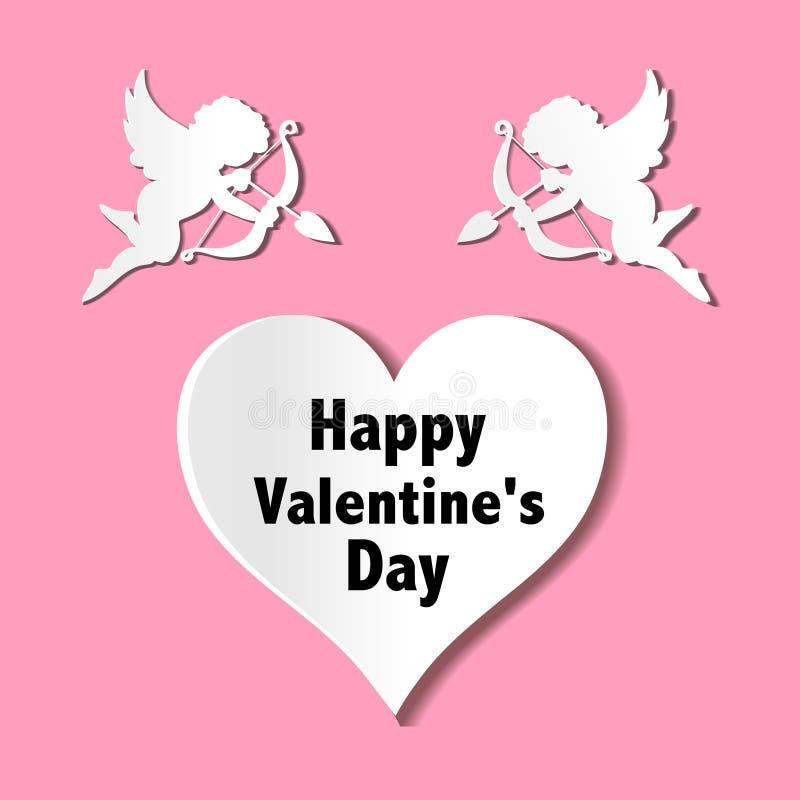 Cartes de jour de valentines avec des ornements, des coeurs, l'ange et la flèche illustration de vecteur