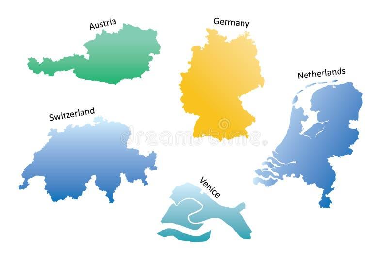 Cartes de l'Europe illustration stock