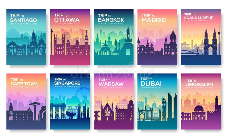 Cartes de l'information de voyage Aménagez le calibre en parc de flyear, magazines, affiches, couverture de livre, bannières Pays illustration stock