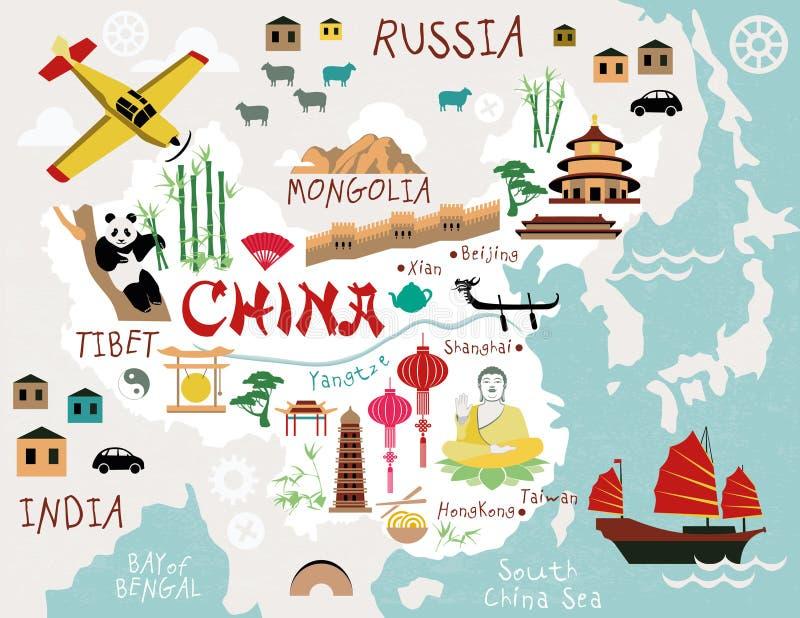 Cartes de la Chine illustration de vecteur