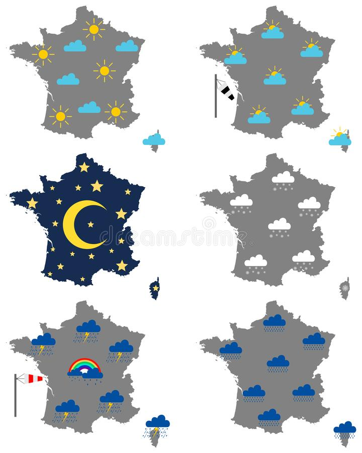 Cartes de la France avec de divers symboles de temps illustration libre de droits