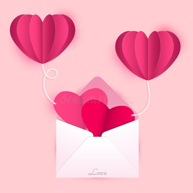 Cartes de lettre d'amour attachées avec des ballons de coeur illustration de vecteur