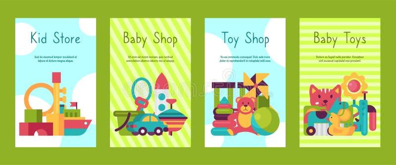 Cartes de magasin de jouet de bébé dans le style plat de bande dessinée Le march? de jeu d'enfants inclut l'ours de nounours, pyr illustration de vecteur