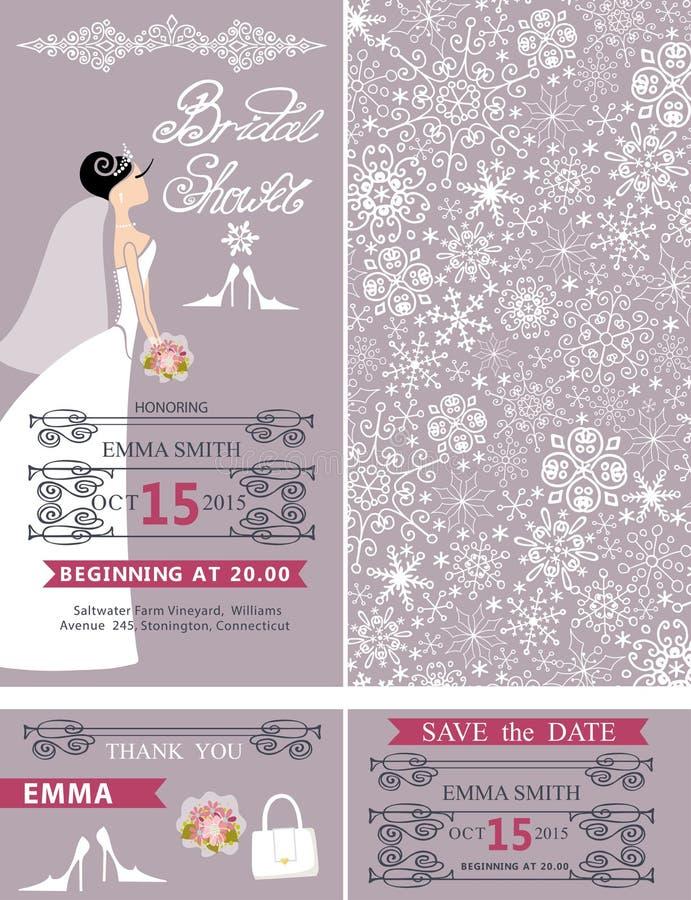 Cartes de mariage nuptiales de douche Jeune mariée, ornement d'hiver illustration stock