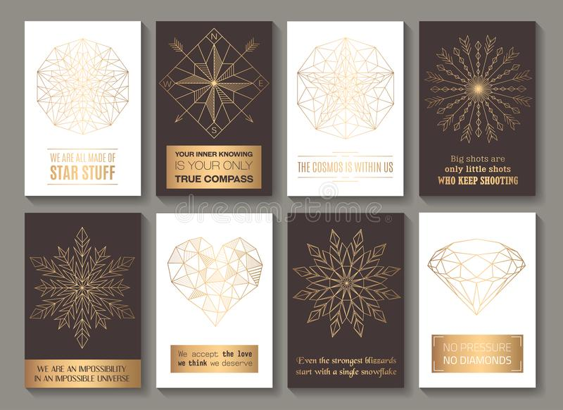 Cartes de motivation d'or illustration stock