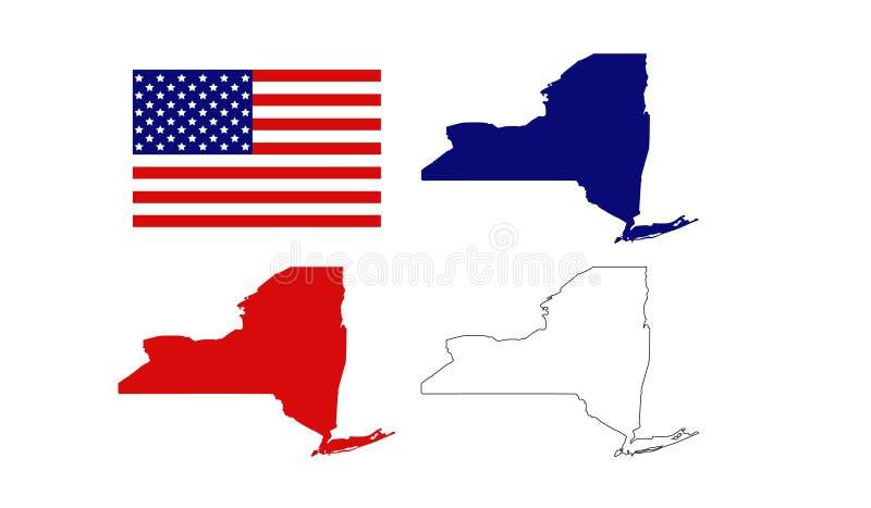 Cartes de New York avec le drapeau des Etats-Unis - état dans le Nord-est des États-Unis illustration stock