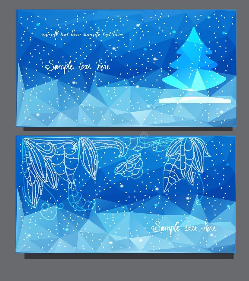 Cartes de Noël avec l'arbre de Noël illustration de vecteur
