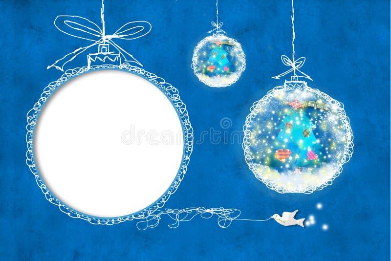 Cartes de Noël, cadre de photo d'enfants illustration stock